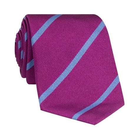 Silk Bar Striped Tie in Purple with Sky Blue