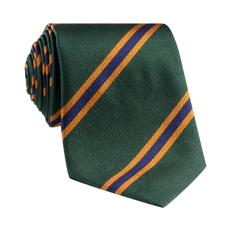 Silk Stripe Tie in Forest