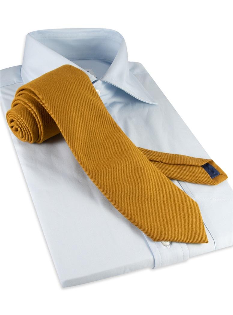 Silk and Wool Solid Tie in Cinnamon