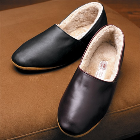 The Philip Calf Skin Slippers with Shearling Lining