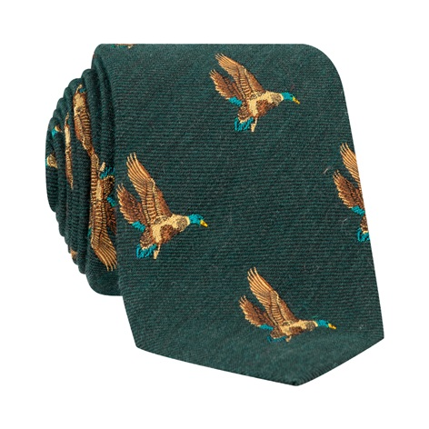 Silk Woven Flying Ducks Motif Tie in Forest