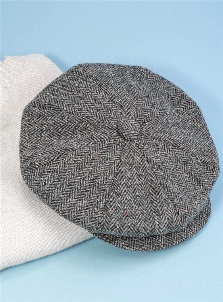 Wool Muirfield Cap in Black & White Herringbone