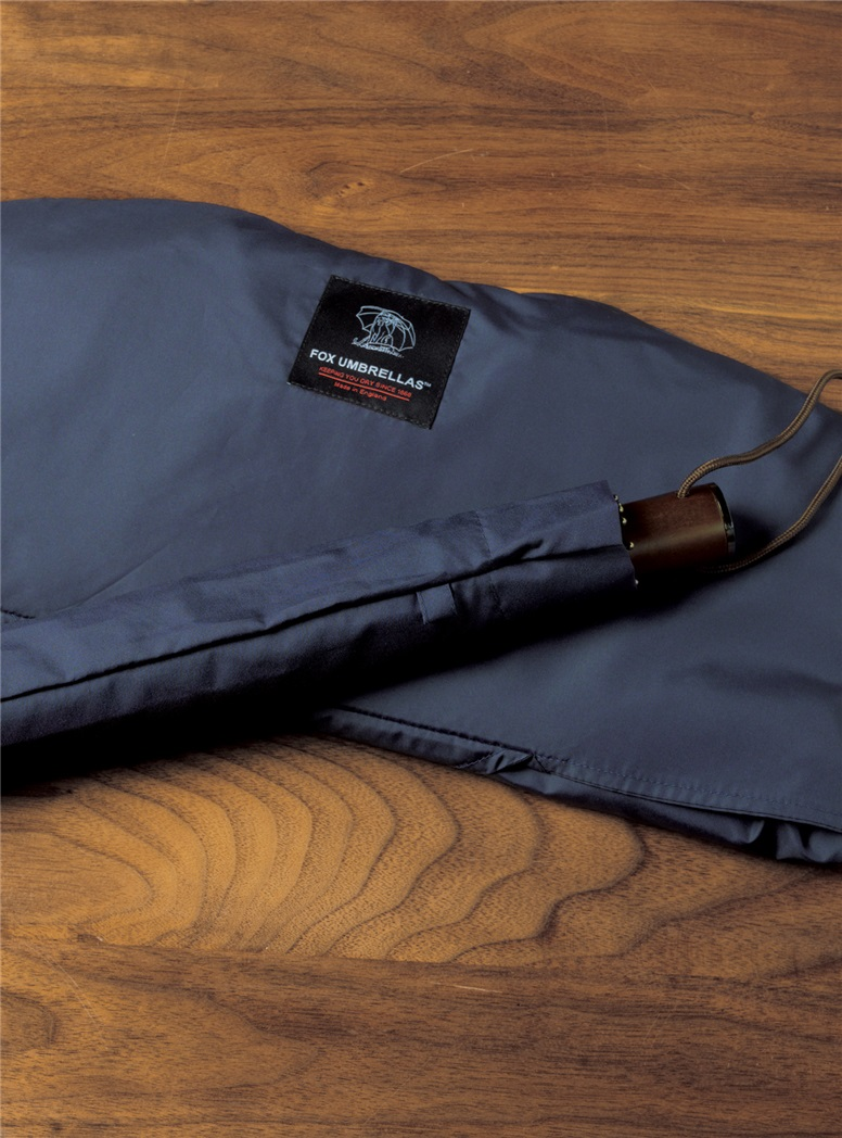 Navy Travel Umbrella with Maple Handle
