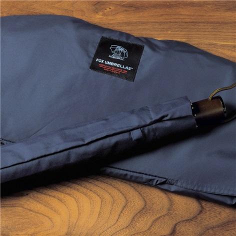 Navy Travel Umbrella with Maple Handle
