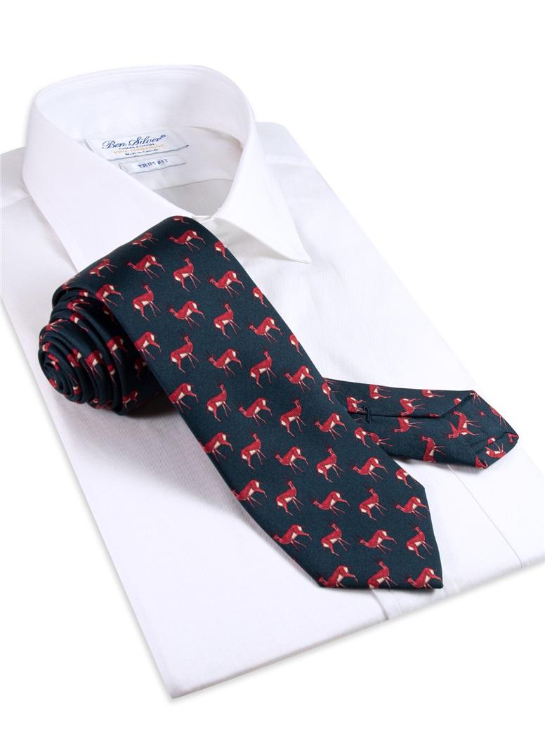 Silk Deer Printed Tie in Navy