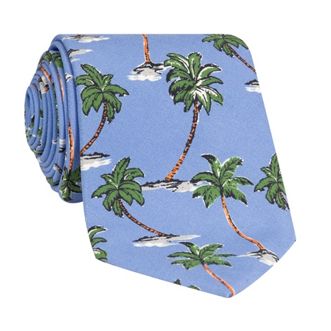 Silk Printed Palm Tree Tie in Cornflower
