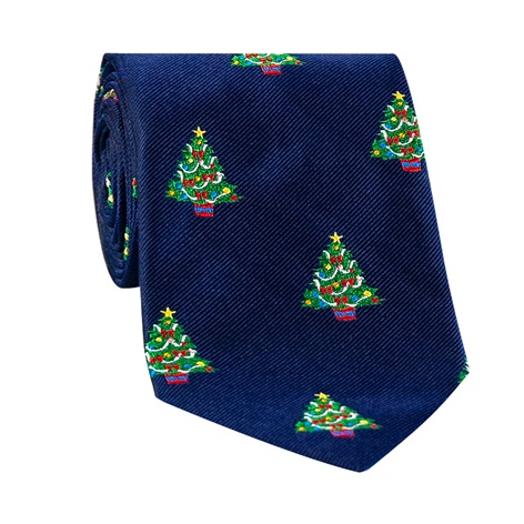 Silk Woven Christmas Tree in Navy