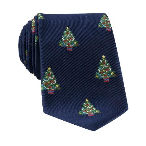 Silk Woven Christmas Tree in Navy