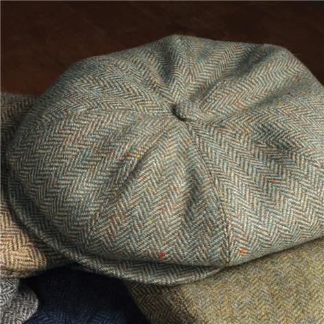 Wool Halifax Cap in Sage and Cream Herringbone