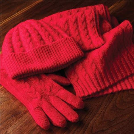 Cashmere Cable Knit Watch Cap in Cardinal