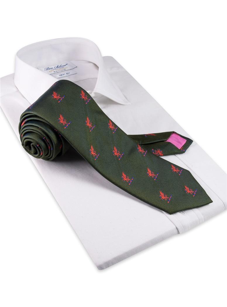 Silk Woven Griffin Motif Tie in Rifle