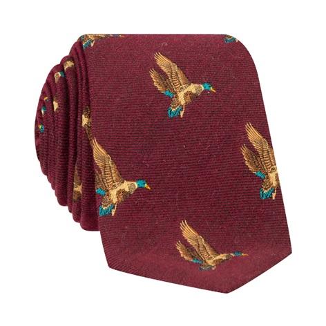 Silk Woven Flying Ducks Motif Tie in Wine
