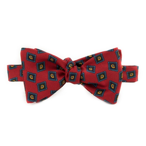 Silk Diamond Paisley Printed Bow Tie in Red
