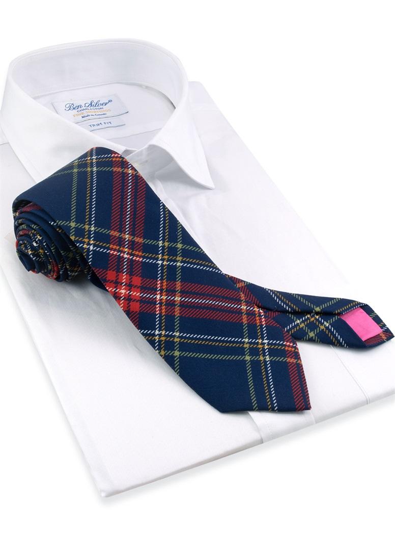 Silk Tartan Printed Tie in Navy