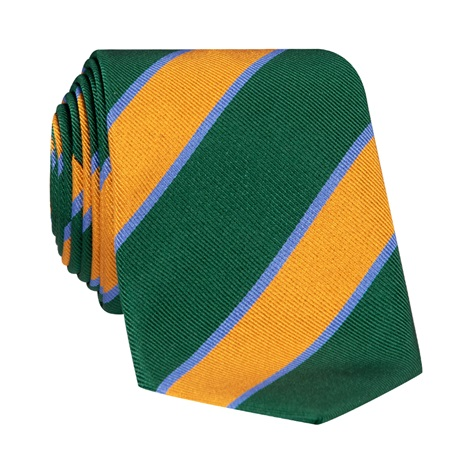 Silk Striped Tie in Forest and Marigold