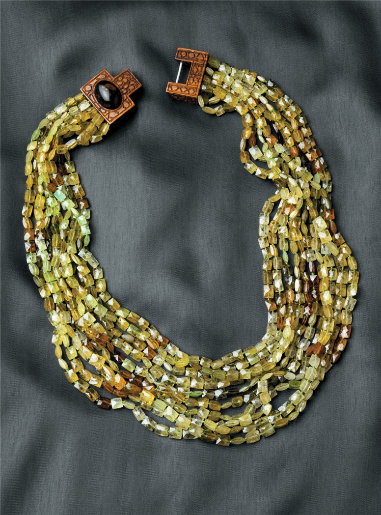 10-Strand Green Garnet Necklace