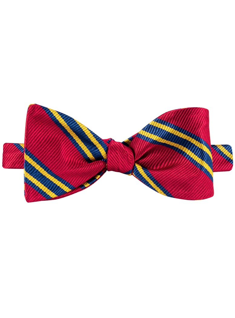 Red/Navy/Gold Striped Bow