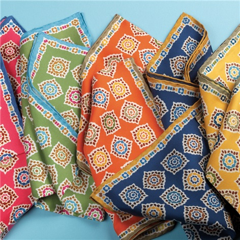 Silk Medallion Motif Pocket Squares