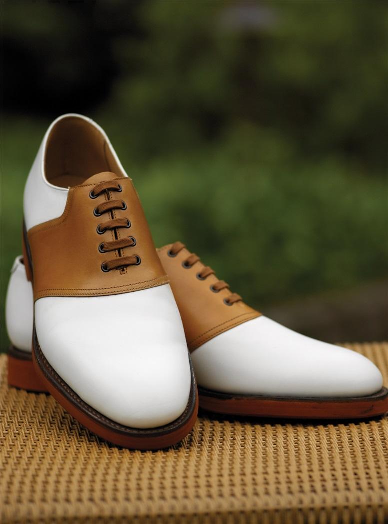 The Cannock Saddle Shoe in White & Tan