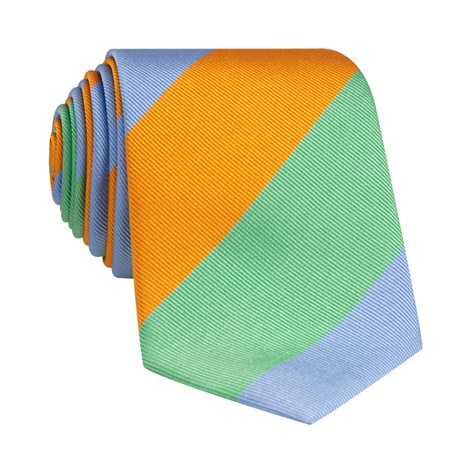 Woven Block Stripe Tie in Tangerine, Mint and Sky