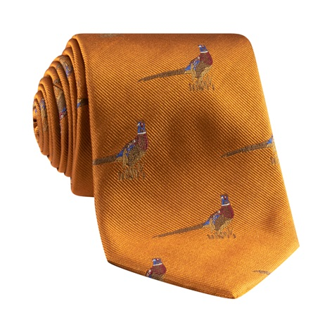 Jacquard Woven Pheasant Motif Tie in Amber