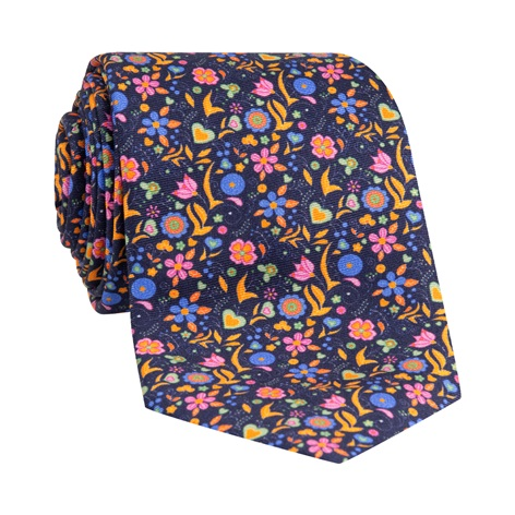 Silk Floral Printed Tie in Midnight