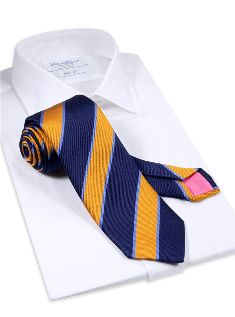Silk Striped Tie in Navy and Marigold