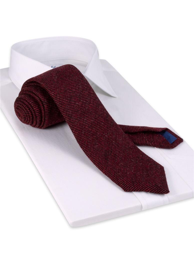 Wool Solid Melange Tie in Red