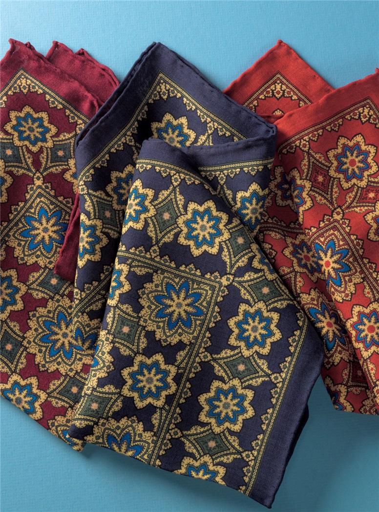 Wool and Silk Medallion Motif Pocket Squares