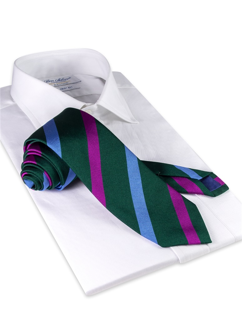 Silk Multi Stripe Tie in Forest