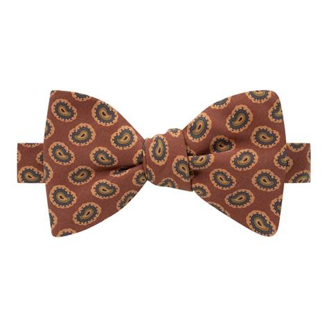 Silk Paisley Printed Bow Tie in Rust