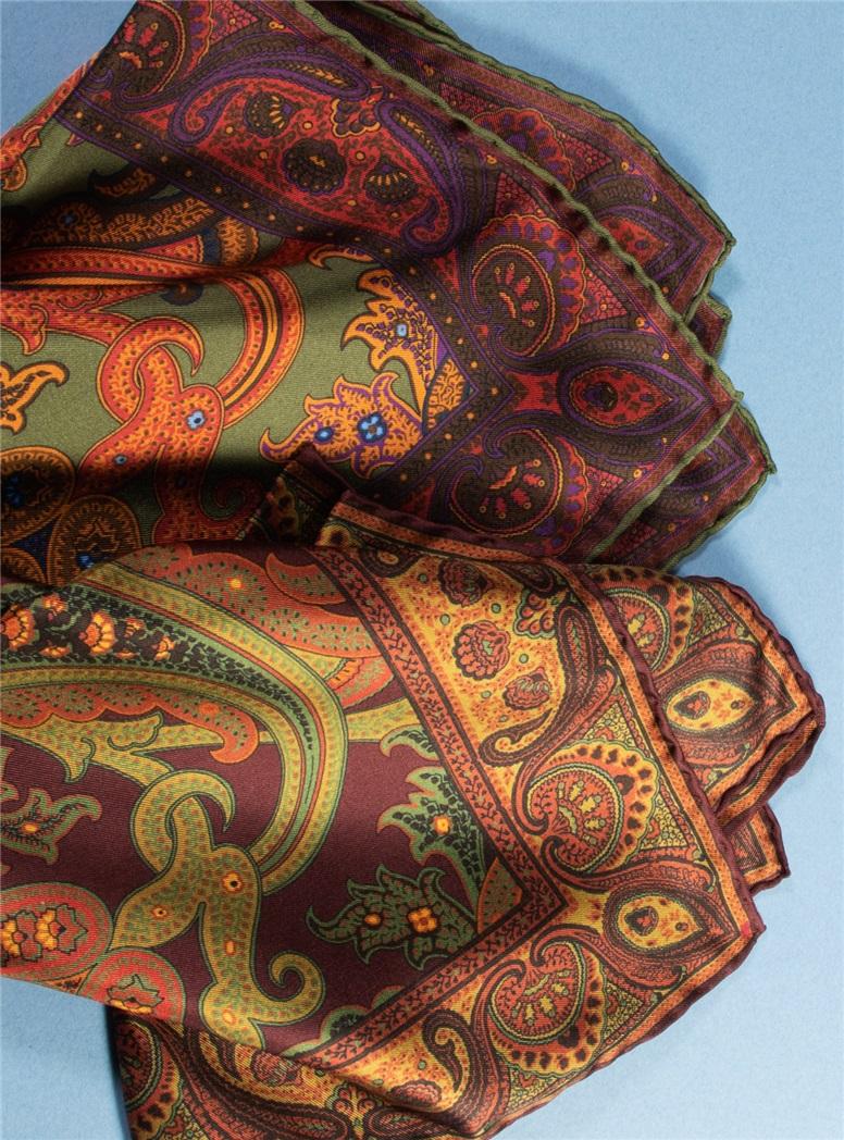 Silk Printed Paisley Pocket Squares