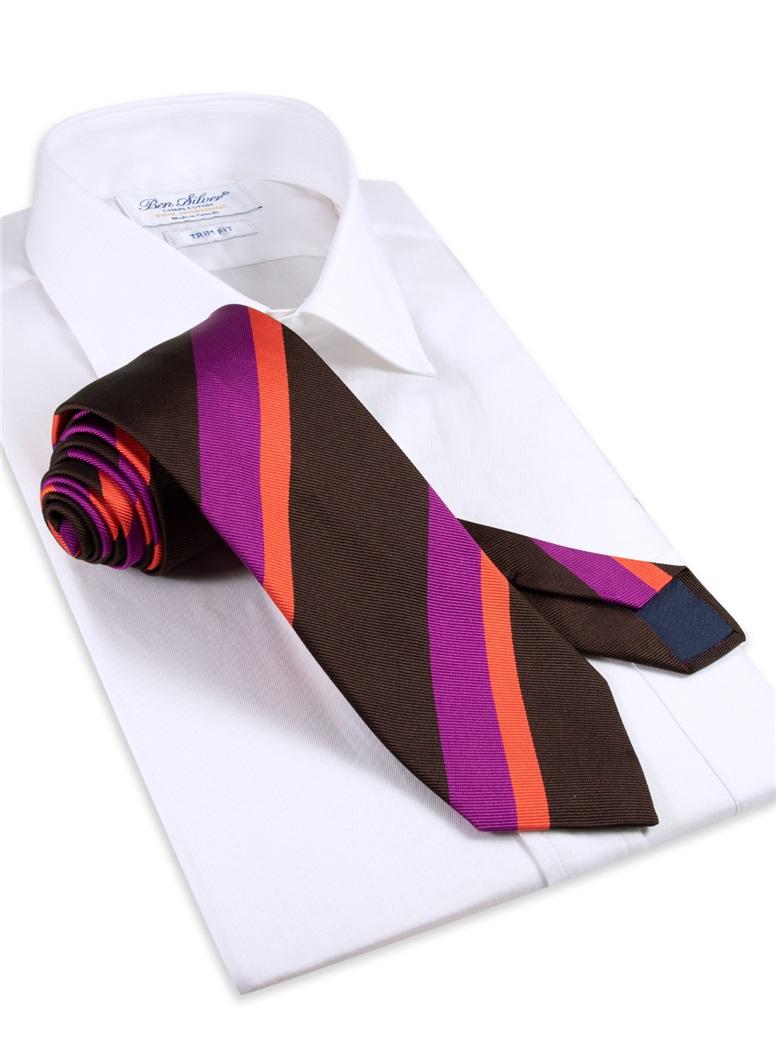 Silk Stripe Tie in Mocha