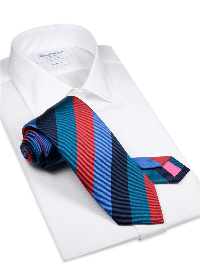 Silk Block Stripe Tie in Jade, Red, Cornflower and Navy