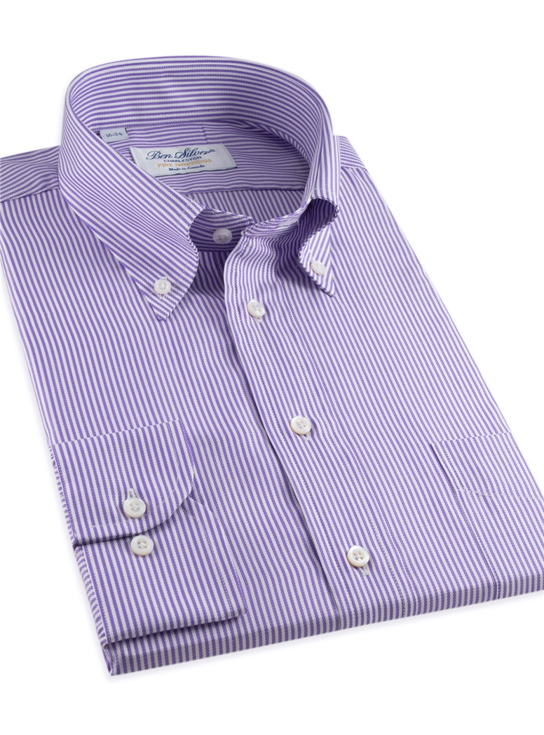 170's Purple & White Bengal Stripe Button Down