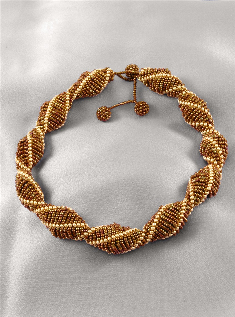 Aprosio Gold and Bronze Beaded Necklace
