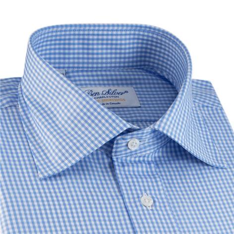 Blue & White Small Grid Check Spread Collar