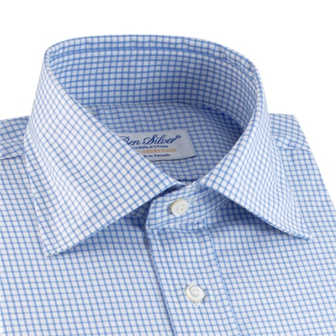 Light Blue & White Grid Check Twill Spread Collar