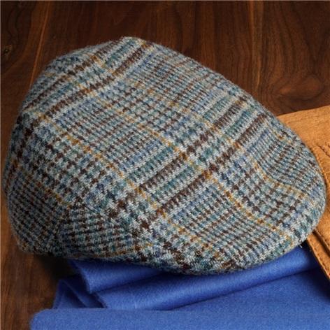 Wool Glen Cap in Grey and Navy Plaid