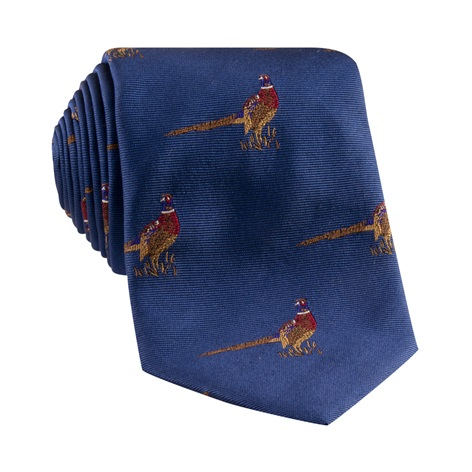 Jacquard Woven Pheasant Motif Tie in French Blue