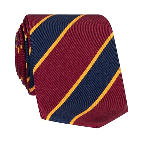 Silk Striped Tie in Wine and Navy