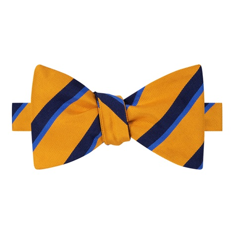 Mogador Silk Double Stripe Bow Tie in Marigold