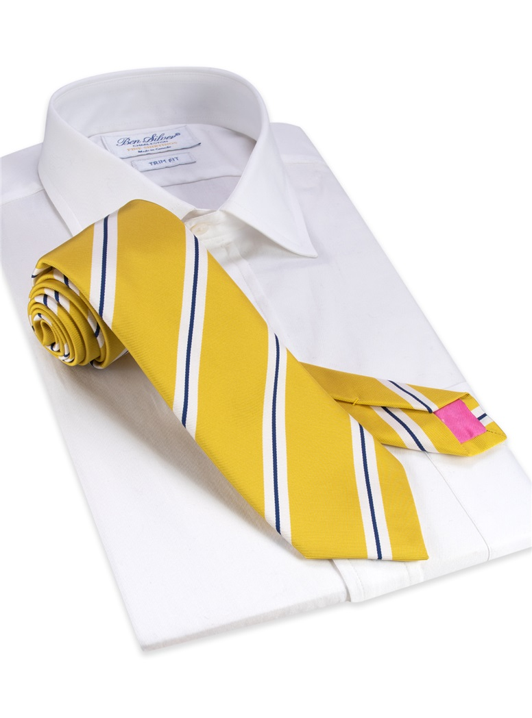 Mogador Silk Double Stripe Tie in Sun