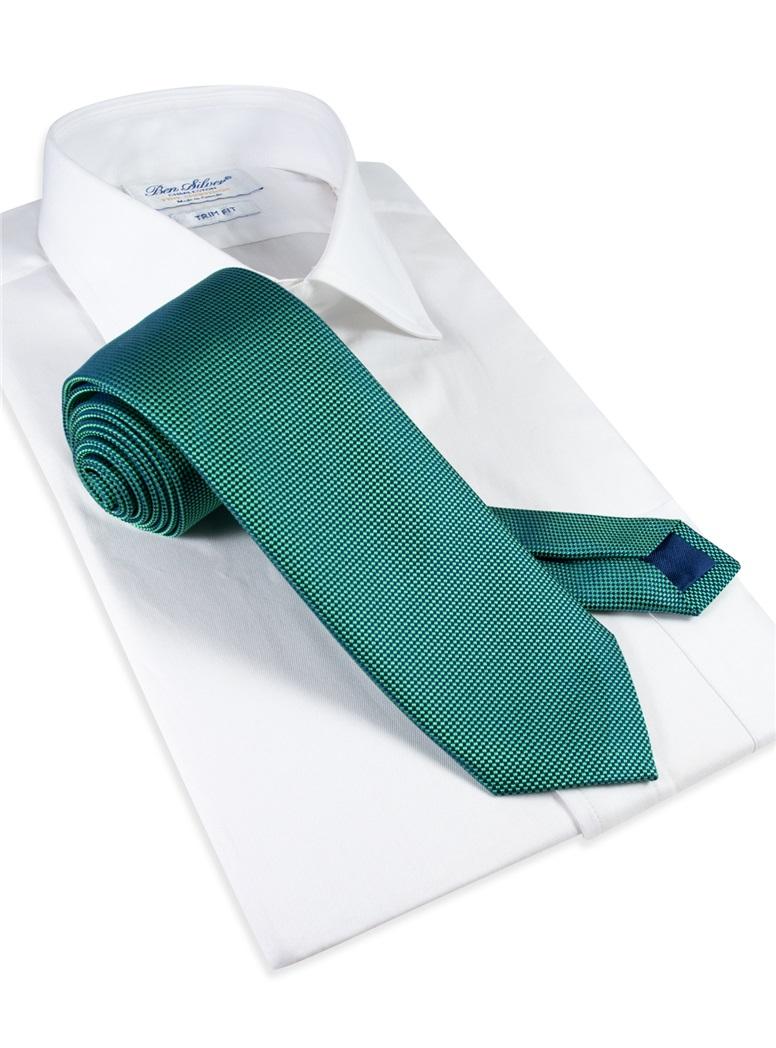Silk Basketweave Tie in Grass
