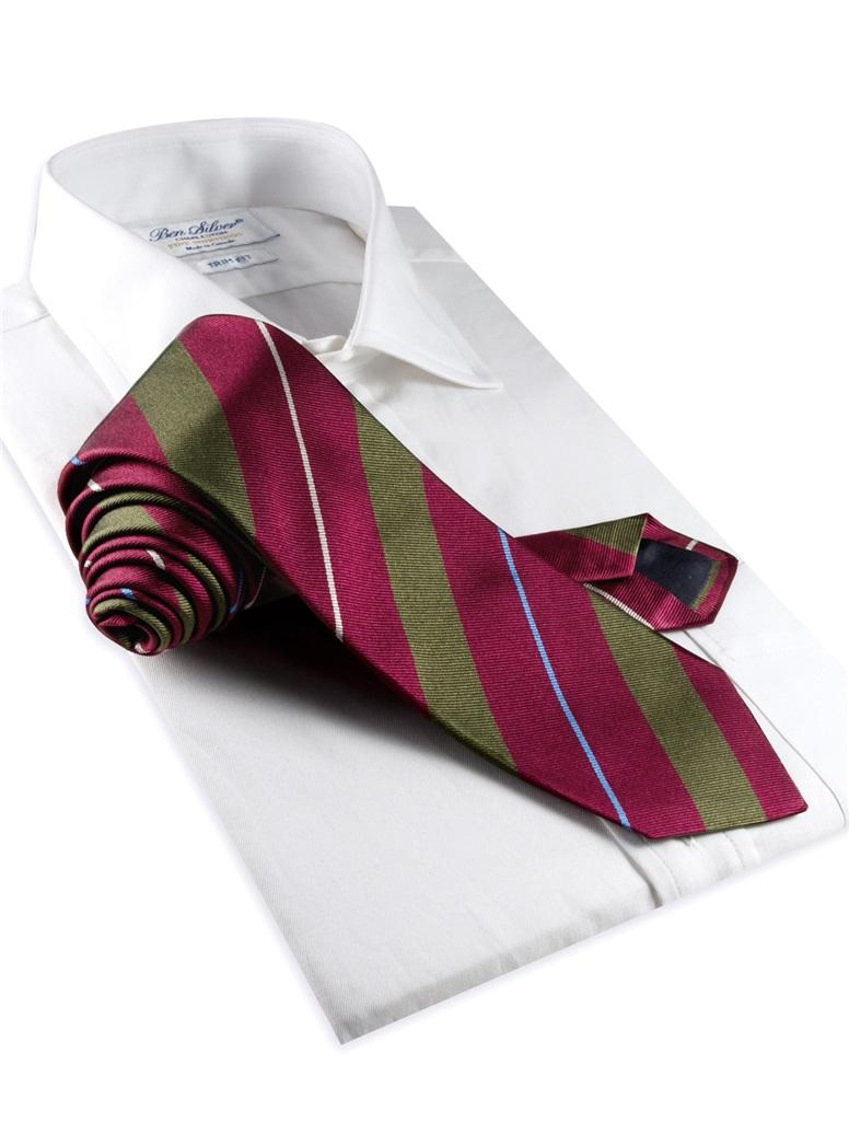 Silk Multi-Stripe Tie in Ruby and Field Green