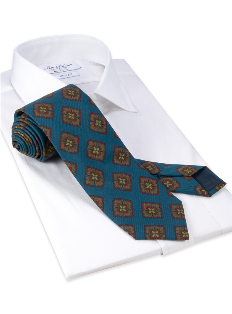 Silk Medallion Printed Tie in Deep Blue