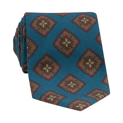 Silk Medallion Printed Tie in Deep Blue