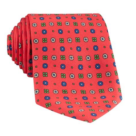 Silk Neat Printed Tie in Salmon