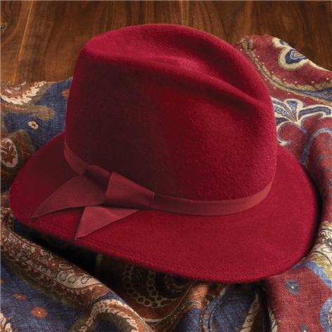 Felt Fedora Hat in Red