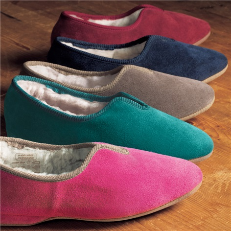 Ladies' Scalloped Suede Slippers with Shearling Lining